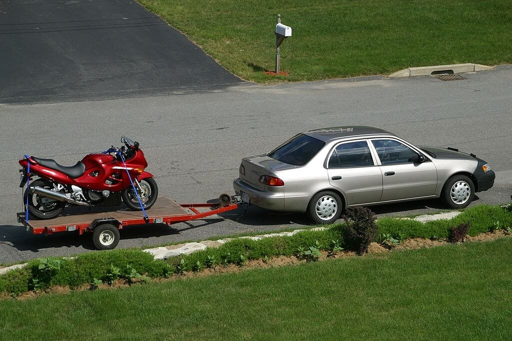 Is it Legal to tow a Motorcycle with a Car
