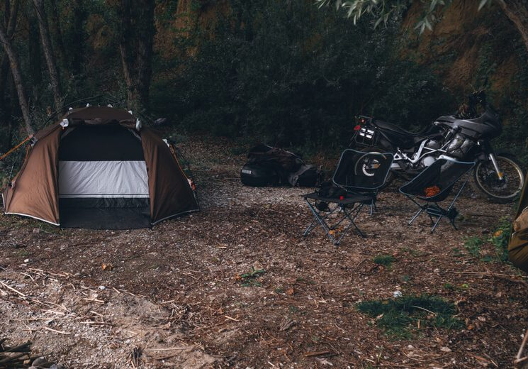motorcycle camping with chair